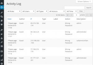 Screenshot of failed logins