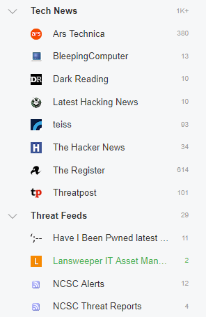 A selection of news feeds for Threat Intelligence